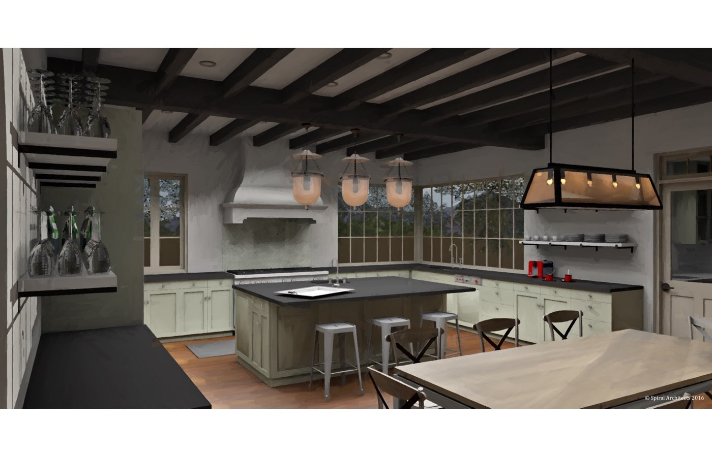Silverleaf Scottsdale Luxury Custom Residence Spiral Architects Gene Kniaz Kitchen Rendering