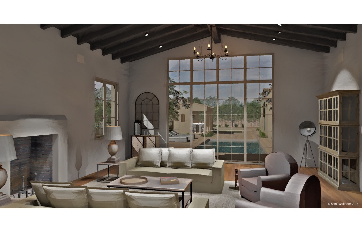 Silverleaf Scottsdale Luxury Custom Residence Spiral Architects Gene Kniaz Living Room Rendering